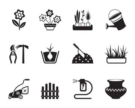 regar las plantas: Flores y jardín iconos conjunto - ilustración vectorial Vectores
