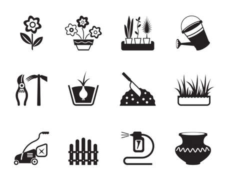 gardening hose: Flower and garden icons set - vector illustration Illustration