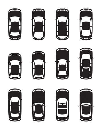 cabriolet: Different cars seen from above - vector illustration Illustration