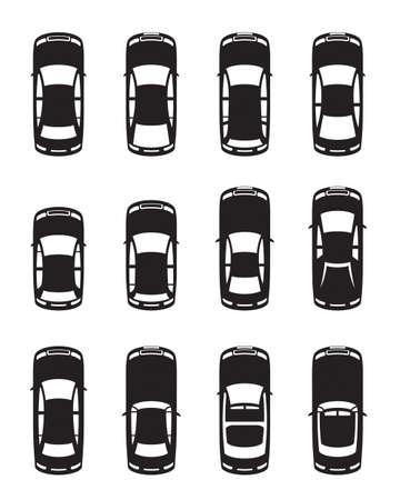 Diverse auto viste dall'alto - illustrazione vettoriale Archivio Fotografico - 13537056