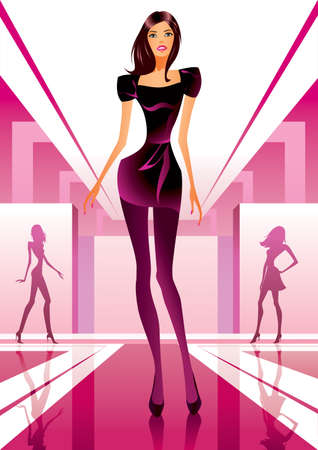Fashion models show clothes at a fashion review Vector