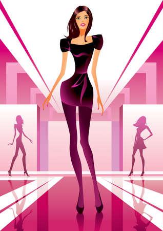 Modelos de desfiles de moda de ropa en una revisión de la moda Ilustración de vector