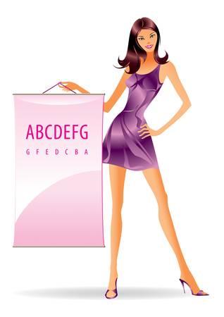 catwalk model: Fashion model con il messaggio pubblicitario