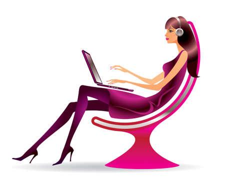 Mujer en un sillón moderno con un ordenador portátil Foto de archivo - 13735325