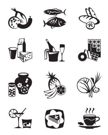fish store: Grocery store and confectionery icons set