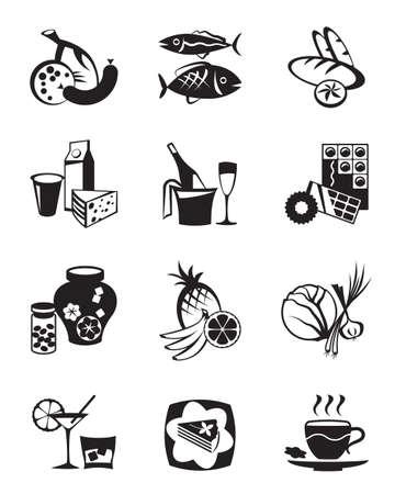 abarrotes: Tienda de comestibles y los iconos de confiter�a establecidos Vectores