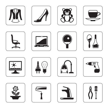 Hypermarket and mall icons set Vector