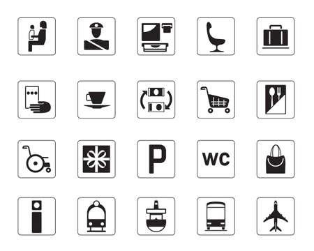 Aeropuerto, estación de autobuses y los iconos de la estación de tren establecidos