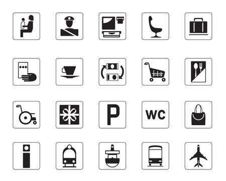train icon: Airport, bus station and railway station icons set