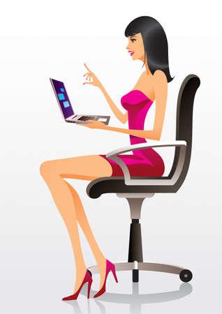 Modèle de mode présentant un nouvel ordinateur portable