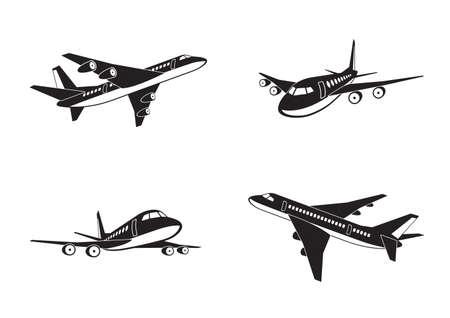 luxury travel: Aviones de pasajeros en perspectiva Vectores