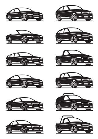 off road: Different cars and off road - vector illustration