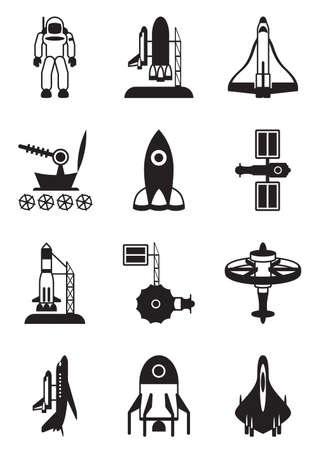 Astronaut, space shuttle and spaceship Vector
