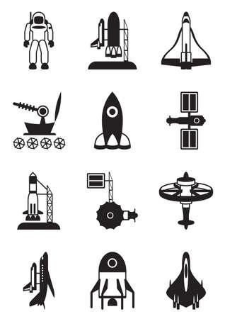 Astronaut, space shuttle en ruimteschip