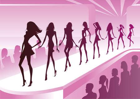 modelo: Modelos de moda mostram roupas novas para uma revis�o Ilustra��o