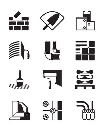block: Construction materials and tools -  illustration