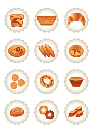 specialty store: Bakery icons set - vector illustration