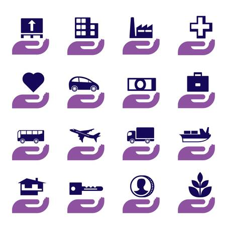 health risks: Insurance icons set