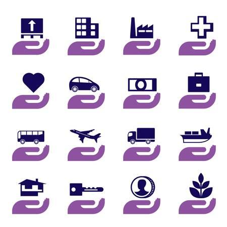 pensioen: Verzekeringen icons set