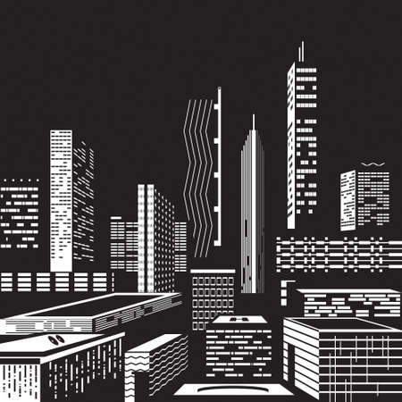 commercial construction: Cityscape by night Illustration
