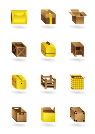 encasement: Package icons set - vector illustration