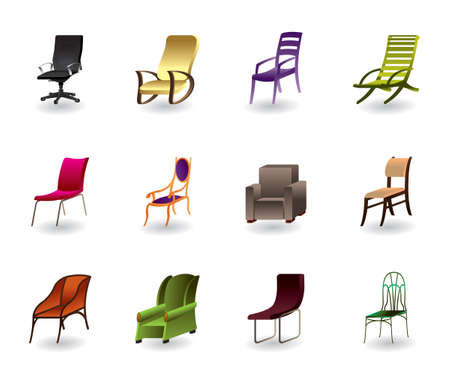 Luxury, interior, office and plastic chairs Vector