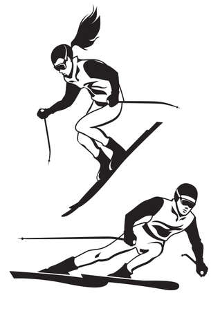 Two skiers on track - vector illustation Stock Illustratie