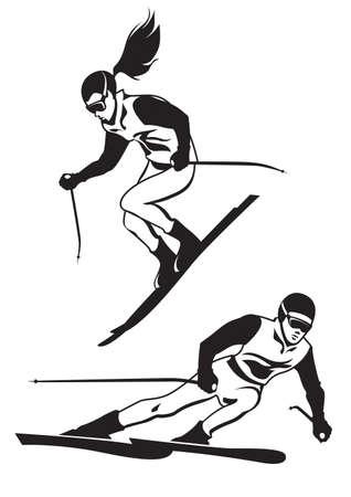 Twee skiërs op de rails - vector illustation Vector Illustratie