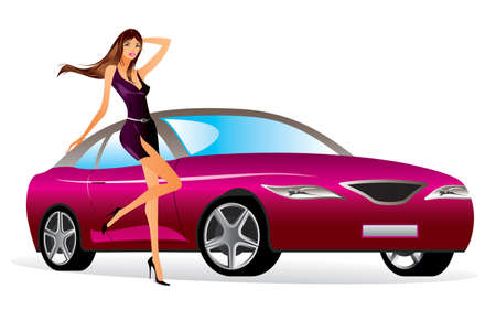 Fashion model with new car - vector illustration Stock Vector - 16173323