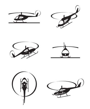 Civiele helikopters in perspectief - vector illustratie