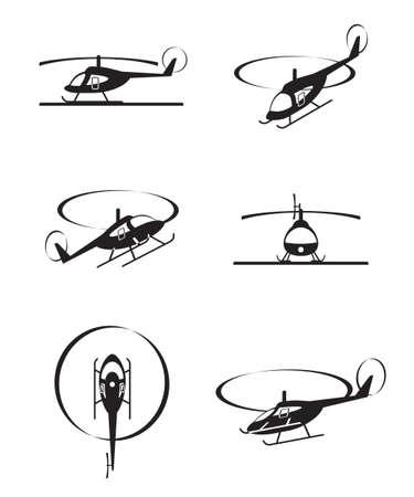 Helicópteros civiles en perspectiva - ilustración vectorial Foto de archivo - 17033053