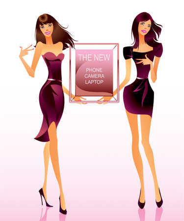 Two Fashion models with advertising message Vector