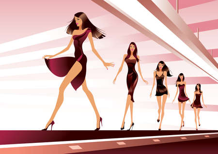 Fashion models on runway - vector illustration Stock Illustratie