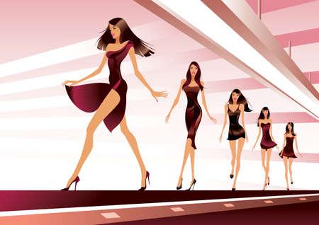 Modelos de moda en la pista - ilustración vectorial