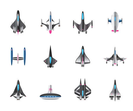 Different spaceships in flight - vector illustration Stock Illustratie