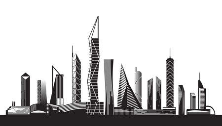 Urban cityscape by day - vector illustration Stock Vector - 17468068