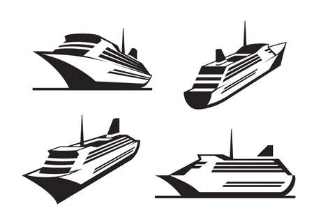 cruise ship: Cruise ships in perspective - illustration