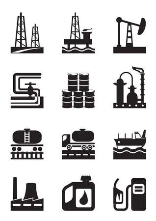 La extracción y procesamiento de petróleo - ilustración vectorial Ilustración de vector