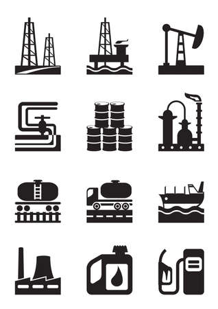 refinería de petróleo: La extracción y procesamiento de petróleo - ilustración vectorial