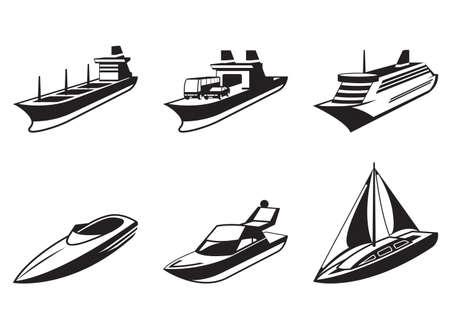 Buques de mar y los barcos en perspectiva Foto de archivo - 18149225