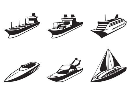 Sea ships and boats in perspective Stock Illustratie