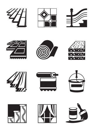 Decoration materials for interior - vector illustration