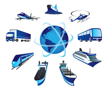 Passenger and cargo transportations Stock Illustratie
