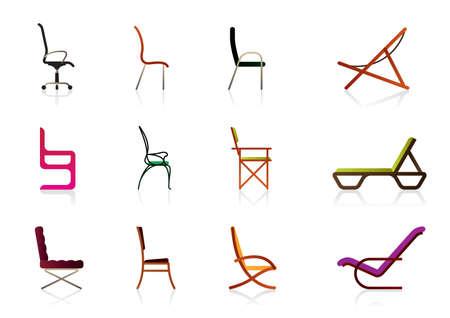 Oficina, interior, de plástico y sillas de lujo