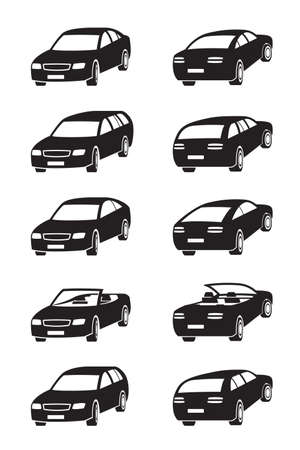 coupe: Different cars in perspective - illustration