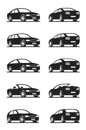 Popular cars in perspective - illustrator Vector