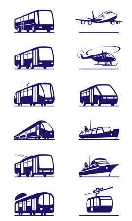 Public transportation icon set - vector illustration Vector