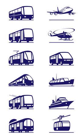 tram: Public transportation icon set - vector illustration