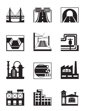tunel: Varios tipos de ilustración de la construcción Vectores