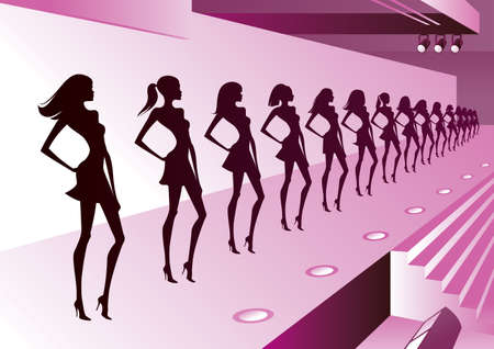 catwalk model: Fashion models represent new clothes on review